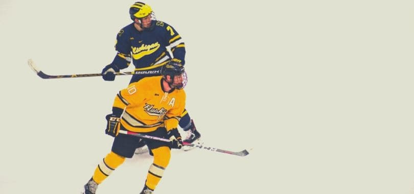 Two hockey players on the ice.