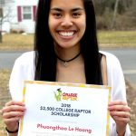 A young female student smiling while holding a $2500 College Raptor Scholarship certificate.