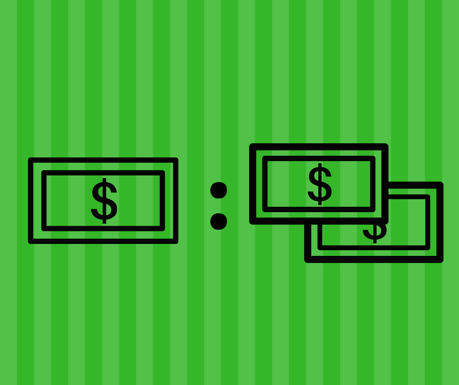 Ratio of 1 dollar and 2 dollars graphic against green background.