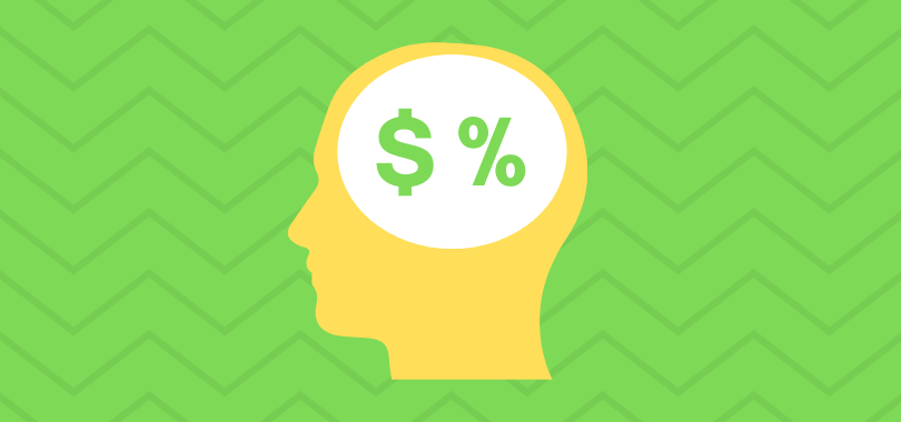 A yellow profile of a head in front of a green background. In the person's brain is a green dollar sign and percent.