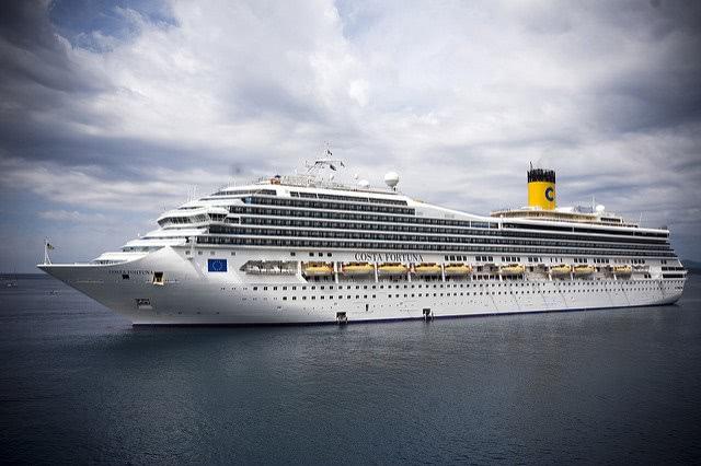 Cruise ship sailing in the sea.