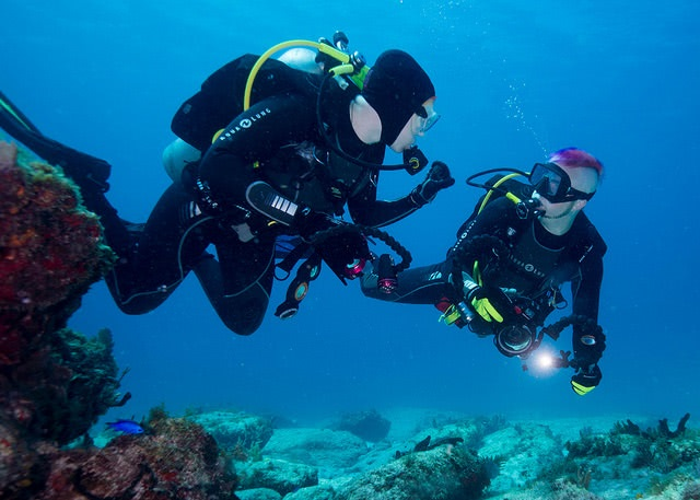 Two scuba divers swimming deep underwater.