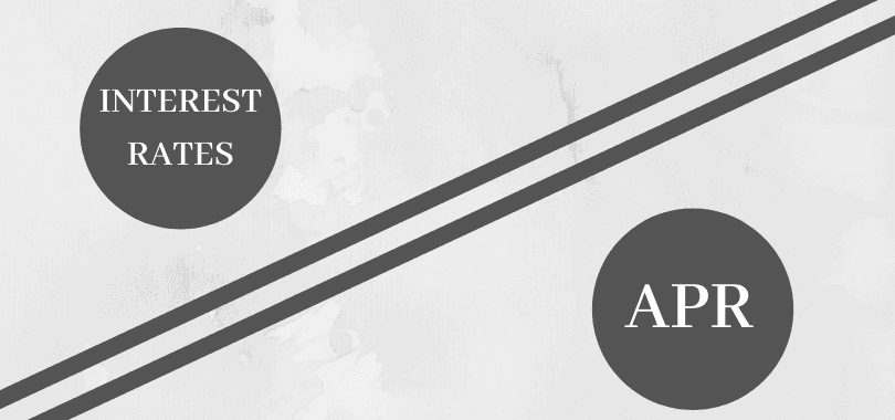 """Two gray circles that say """"interest rate"""" and """"APR,"""" with a diagonal line."""