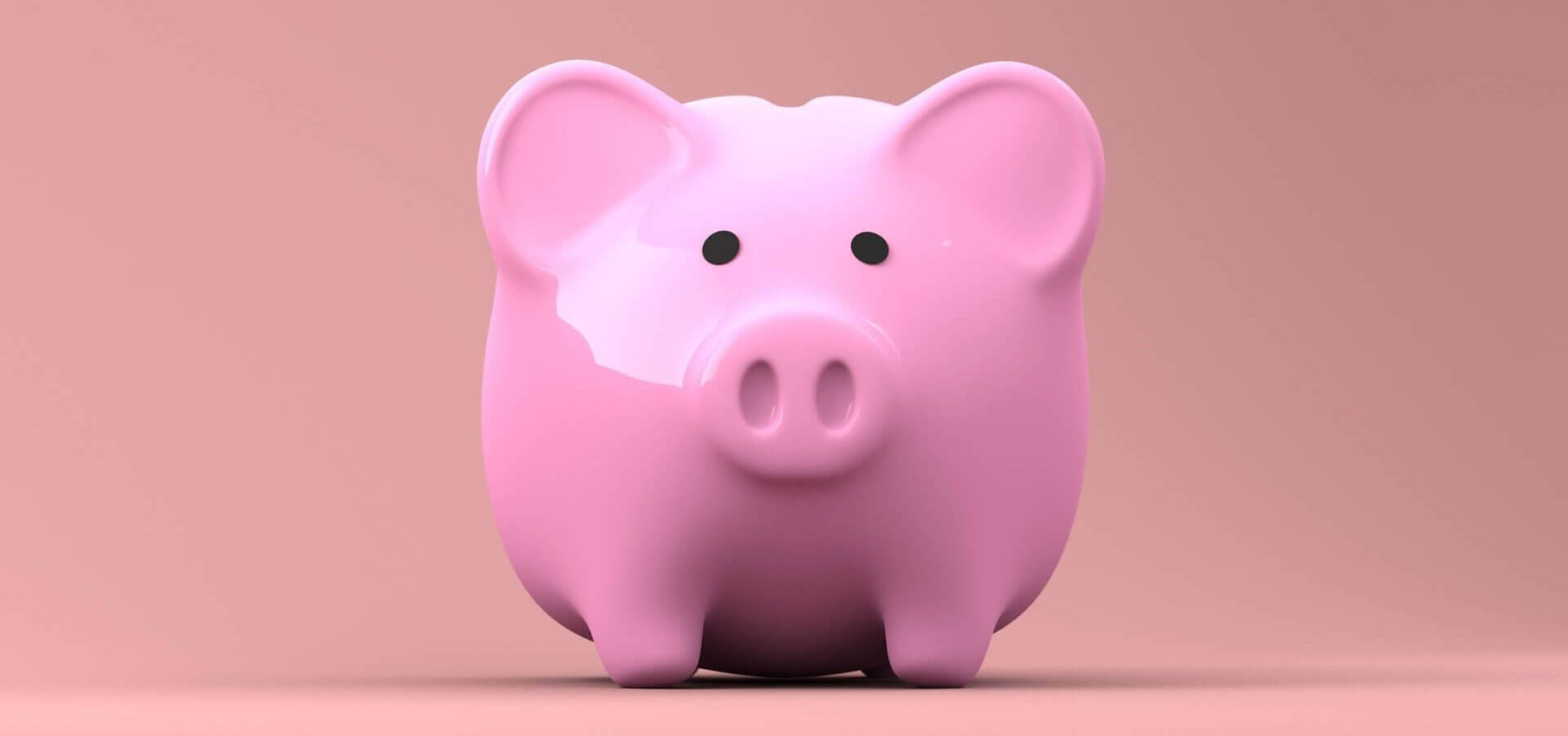 A pink piggy bank on a pink background.