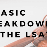 "A gavel with text overlayed that says ""a basic breakdown of the LSAT."""