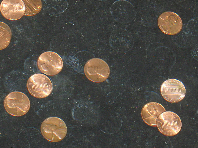Coins dropped into the fountain.
