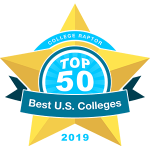"College Raptor Rankings star badge that says ""Top 50 Best US Colleges 2019""."