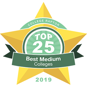 "A gold star badge that says ""College Raptor Top 25 Best Medium Colleges 2019."""