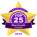"A gold star badge that says ""College Raptor Top 25 Best Private Colleges 2019""."