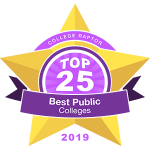 "A gold star badge that says ""College Raptor Top 25 Best Public Colleges 2019."""