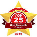 "A gold star badge that says ""College Raptor Top 25 Best Research Colleges 2019""."