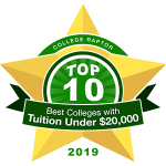 "A gold star badge that says ""College Raptor Top 10 Best Colleges with Tuition under $20,000 2019."""