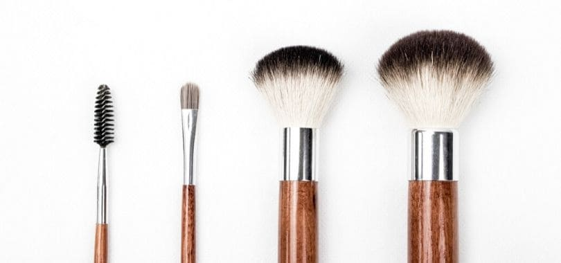 Various makeup brushes side-by-side.