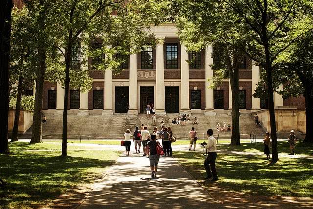Students walking around Harvard Yard.