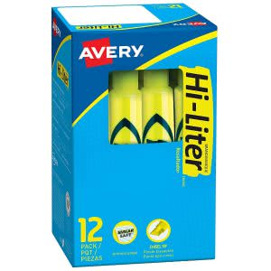 Study sessions school supplies -- avery hi-liter smear safe ink highlighters