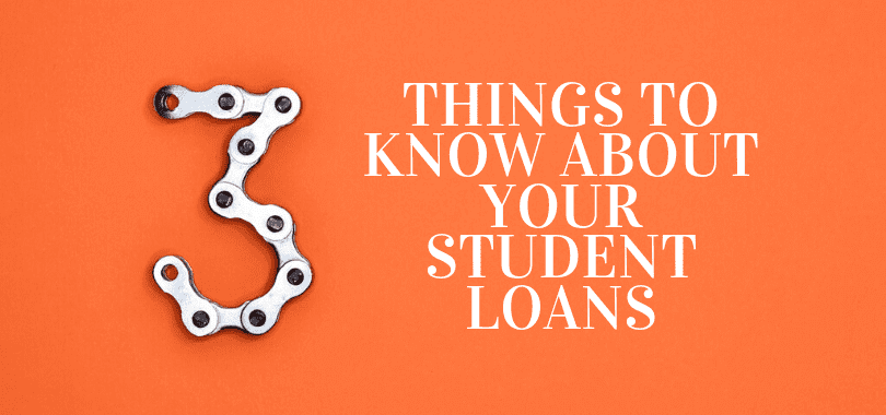 """An orange background with a chain shaped like a """"3"""" with text that says """"things to know about your student loans."""""""