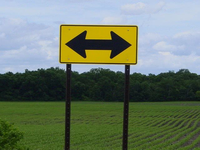 A two way road sign