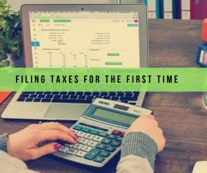 Computer and calculator used in filing taxes for the first time