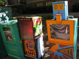 Student newspaper boxes
