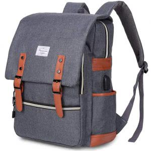 Blue with brown accents Modoker vintage laptop backpack. Click to view the Amazon page.