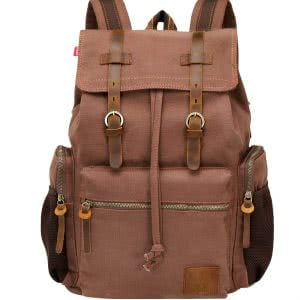 Brown Wowbox Canvas Backpack Vintage Leather. Click to view the Amazon page.