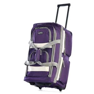 Dark lavander rolling duffle bag. Click to view its Amazon page.