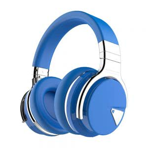 Blue and silver COWIN wireless headphones. Click to view its Amazon page.