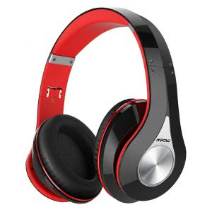 Red and black Mpow wireless headphone. Click to view its Amazon page.