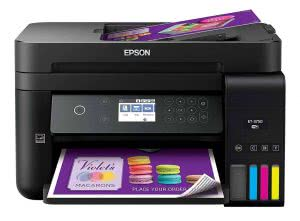 Black Epson scanning and printing a business flyer. Click to view its Amazon page.