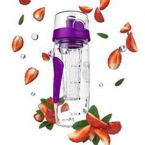 Purple Bevgo infuser water bottle surrounded by strawberries. Click to view its Amazon page.