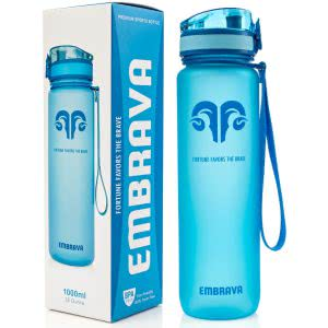 Blue Embrava sports water bottle. Click to view its Amazon page.