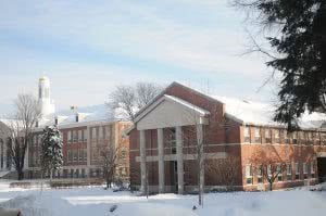 Snowy Siena College campus - winter break is the perfect time to work on extracurricular activities