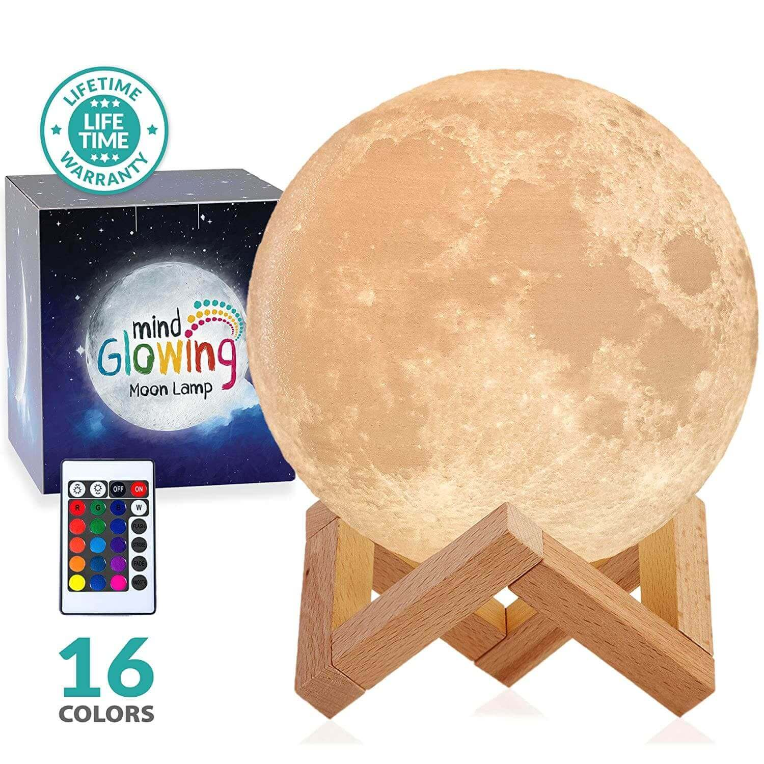 A lamp shaped like the moon on a wooden stand.