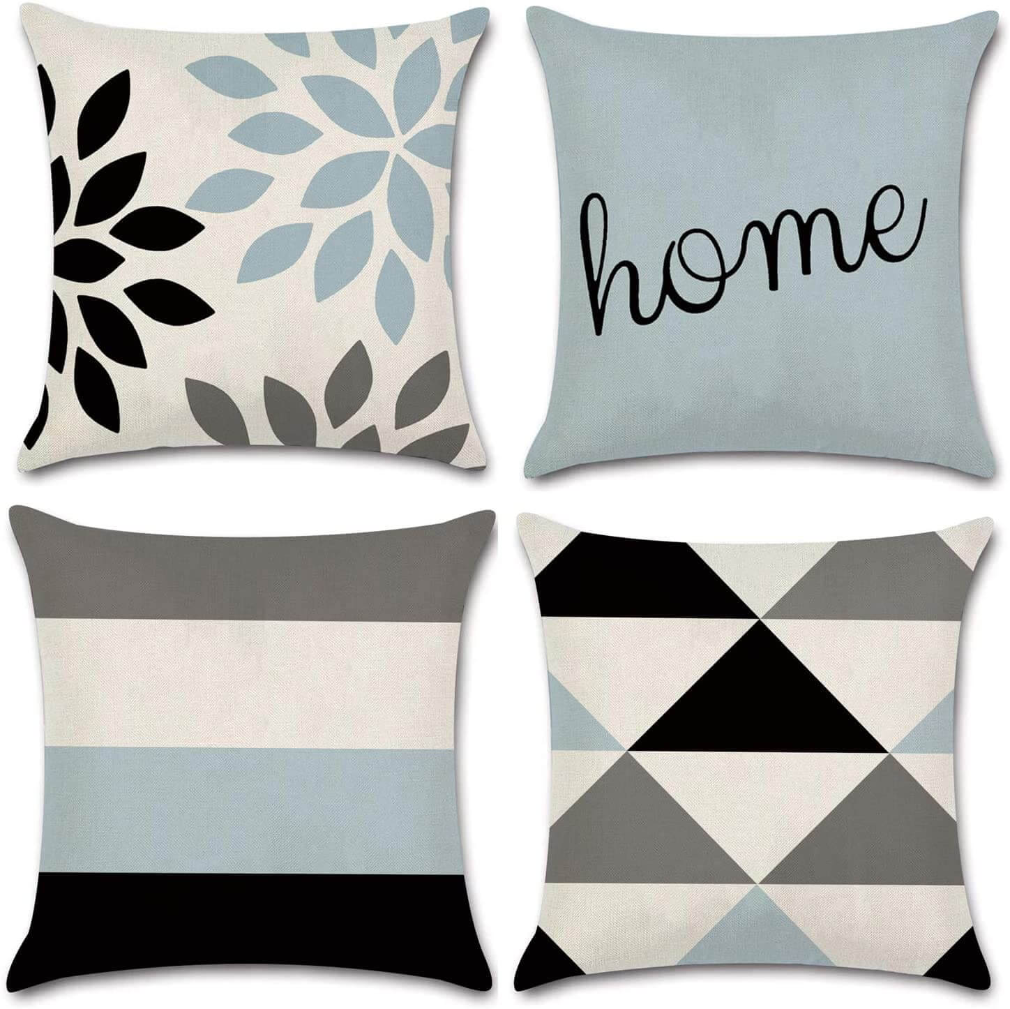 White, blue-gray, black, and brown throw pillow covers.