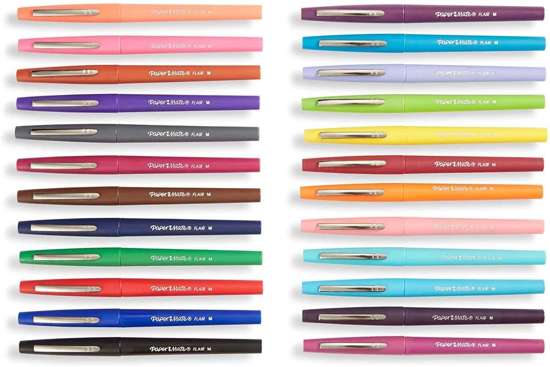 Paper Mate felt-tip pens in 24 colors.