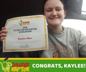 scholarship winner kaylee aber