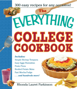 """A cookbook titled """"The Everything College Cookbook."""" Click to view its Amazon page."""