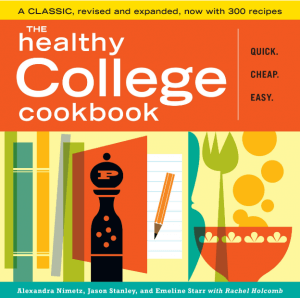 """A cookbook titled """"The Healthy College Cookbook."""" Click to view its Amazon page."""