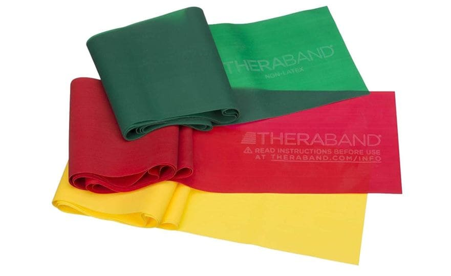 Green, red, and yellow resistance bands