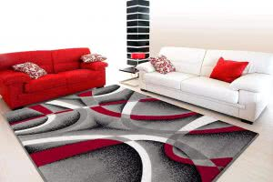 2305 Gray Black Red White Swirls rugs