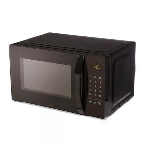 Small black AmazonBasics microwave. Click to view its Amazon page.