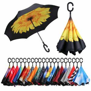 Black umbrella with a sunflower printed on the underside.Click to view its Amazon page.