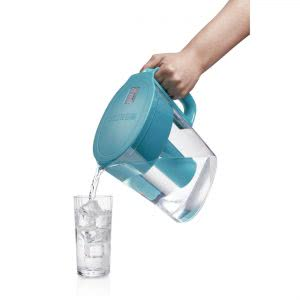Turquoise Brita water pitcher filling a glass. Click to view its Amazon page.
