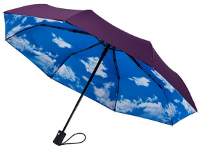 Purple umbrella with a sky printed on the inside. Click to view its Amazon page.