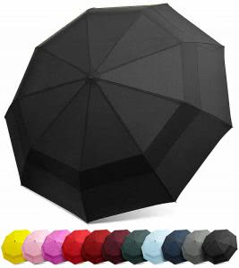 Black umbrella with other available colors underneath it. Click to view its Amazon page.