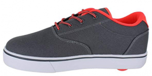 Charcoal and orange Heelys sneakers. Click to view its Amazon page.