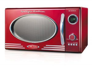 Red and silver Nostalgia Retro microwave. Click to view its Amazon page.
