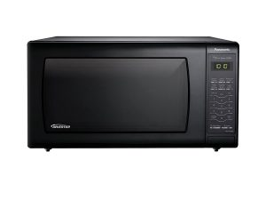 Black Panasonic countertop microwave oven. Click to view its Amazon page.