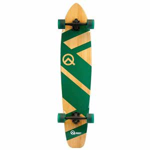 Quest bamboo longboard with green lines design. Click to view its Amazon page.