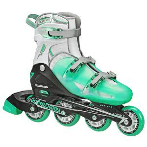 Mint green Roller Derby inline skates. Click to view its Amazon page.